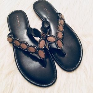 Ann Taylor Black Beaded Sandals Size 10